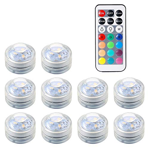 Submersible LED Lights, Waterproof Underwater Remote Controlled Battery Operated Pool Pond Tea Lights Wireless LED Fish Tank Multi-Color RGB Light Lamp for Aquarium Swimming Fountain Bowls Hot (Tealight Cover)