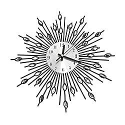 33CM MODERN DIAMANTE BEADED JEWELED SUNBURST SILVER WALL CLOCK