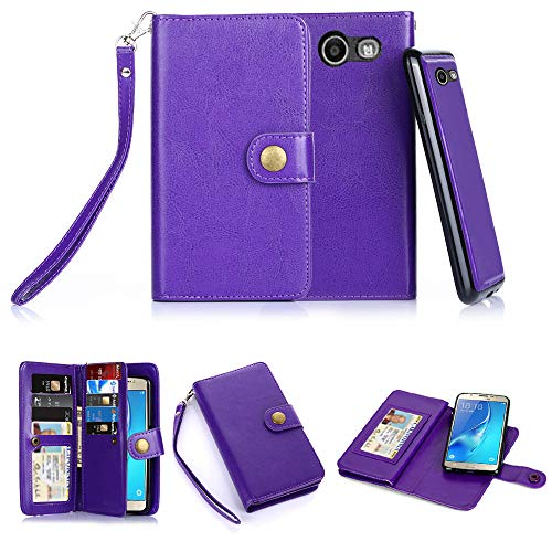 TabPow Galaxy J7 V Case, Galaxy J7 Prime Case, Galaxy J7 Perx Case, 10 Card Slot - ID Slot, Button Wallet Folio PU Leather Cover Detachable Magnetic Case Samsung Galaxy J7 V (2017) - Purple