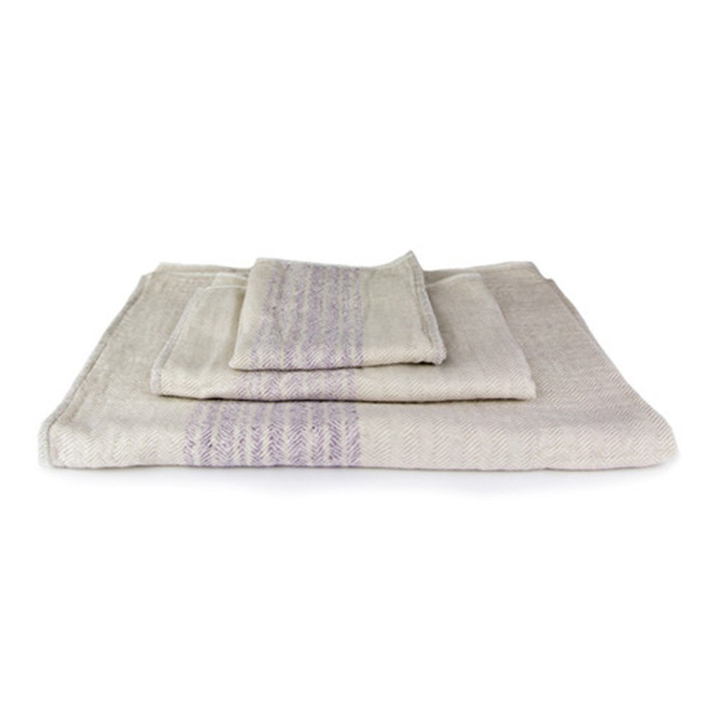 Kontex Organic Cotton Towels From Imabari, Japan - Bath Towel, Hand Towel & Washcloth, Beige/Lavender (Set of 3 Towels) by IPPINKA