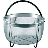 Stainless Steel Steamer Basket with Heat Proof Rubber Handle (6 Quart) | Perfect Fit for Instant Pot and Pressure Cookers | Steam Dish for Veggies, Dumpling, Eggs, Tamale and Yogurt Strainer