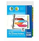 Dividers for 3 Ring Binder, Colored Tabs Binder Dividers with Labels Jan-dec