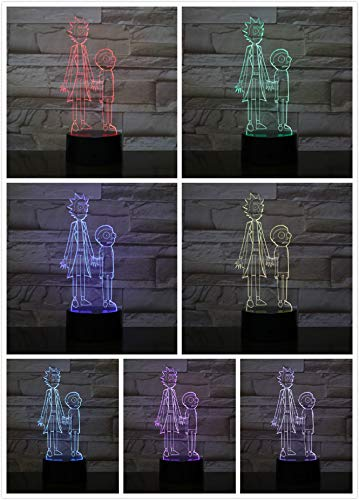 wangZJ Lámpara de ilusión 3d / 7 colores cambiantes Luz de ...