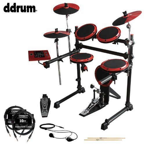 ddrum DD1 Complete Electronic Drum Kit with ChromaCast 10ft Cables, Earbuds & GoDpsMusic 5A (Ddrum Electronic Drum Set)