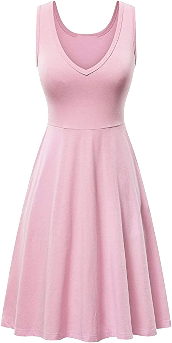 EFOFEI Womens Sleeveless Swing A Line Casual Solid Color Midi Summer Tank Dress
