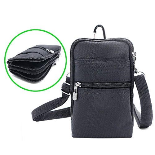 iPhone 8 Plus / 7 Plus Mini Crossbody Bag, Oxford Water Resistant RFID Blocking Small Waist Pack Belt Loop with Locking Carabiner for Galaxy S8 Plus S9 Plus (6 - Black)