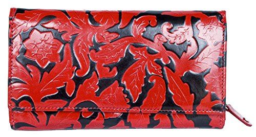 Women's Black-red Clear Coated Genuine Leather Wallet with Leaves ()