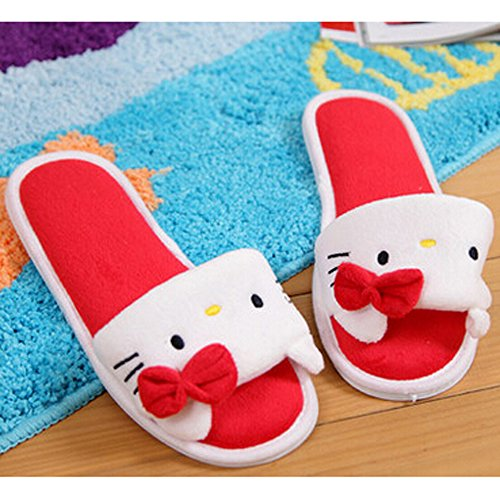 Ea @ Market Summer Mujeres Animation Cartoon Plush Slipper Zapatillas De Casa Rojo / Kt