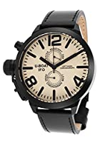 U-Boat Men's Left Hook IFO Limited Edition Chronograph Black Genuine Leather Beige Dial from U-Boat