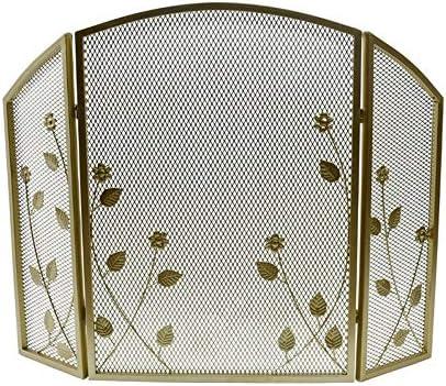 YYR 3パネルゴールド錬鉄メタルインテリアメッシュ暖炉スクリーン、クラシック暖炉ゲート画面、ソリッドベビー安全な暖炉フェンス55×25×78センチメートル