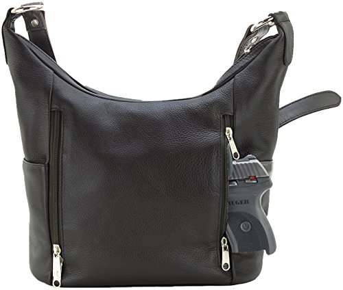 Womens Genuine Leather Concealed Carry Purse CCW Handbag by Silver Lilly (Brown) (Best Concealed Weapon For Ladies)
