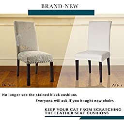 Subrtex Jacquard Stretch Dining Room Chair Slipcovers (4, White Jacquard)