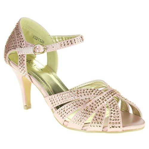 Frau Damen Diamant Abend Hochzeit Party Abschlussball Braut High Heel Fesselriemen Sandalen Schuhe Größe Rosa