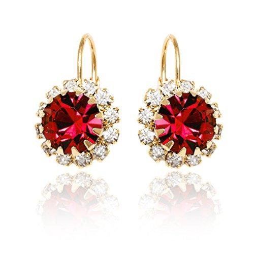 Brazel 18K Gold Tone & Crystal Flower Earrings Made with Swarovski Elements (Ruby)