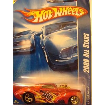 Hot Wheels '41 Willys Burnt Orange, Flamz, 5 Spoke - Gold Chrome end & Block 1/64 #61 2008: Toys & Games