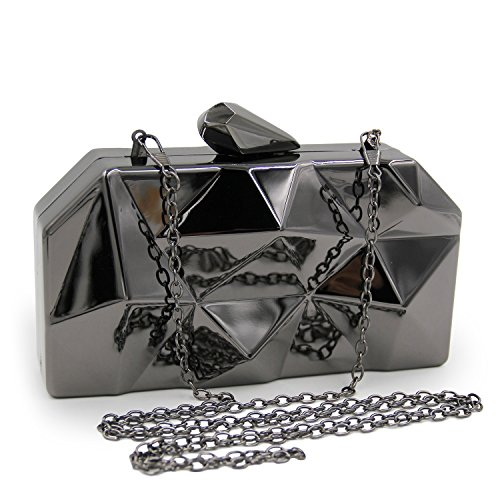 Clutch Geometric Evening Personality TuTu Holding Bag Mini Bag Box Party Iron Hand Hexagon Irregular Evening Black YwqwvCU
