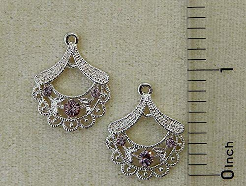 - Lt Amethyst Crystal Rhinestone Silver Chandelier Filigree Fan Earring Bead Drops