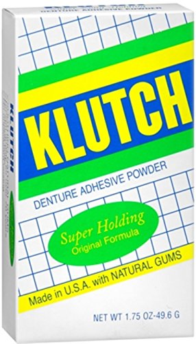 Klutch Denture Adhesive Powder Super Hold 1.75 oz (Pack of 3) by Klutch