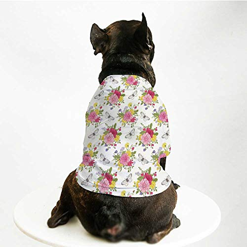 YOLIYANA Shabby Chic Decor Custom Pet Suit,Peonies Roses Sweet Peas Bell Colorful Bouquet Butterflies Botany Garden for Cats and Dogs,M]()