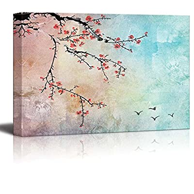 Beautiful Watercolor Illustration of Cherry Blossoms and Birds in The Sky - Canvas Art Home Art - 12x18 inches