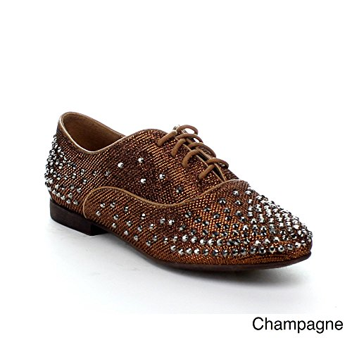 EASOS GEAL OPRV-37 Womens Glitttering Studded Lace-up Flat Oxford, Color:CHAMPAGNE, Size:7