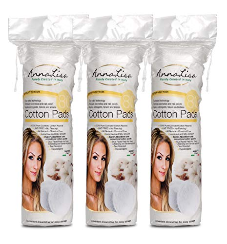 AnnaLisa 100% Pure Combed Cotton Rounds 3 Packs of 80 Hypoallergenic & Absorbing Cotton Pads for Face/Makeup/Nail Polish Removal |240-Piece Italian Round Facial Cleansing| ()