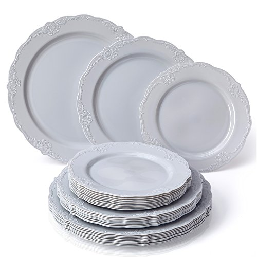 VINTAGE COLLECTION 120 PC DINNERWARE SET | 40 Dinner Plates | 40 Salad Plates | 40 Dessert Plates | Durable Plastic Dishes | Elegant Fine China Look | for Upscale Wedding and Dining (Grey)]()