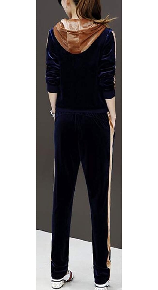ONTBYB Womens Gold 2 PCS Floral Printed Hoodie Stitch Velvet Sweatsuit Set