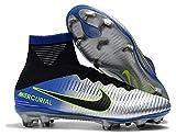 Men's High Ankle Soccer Cleats Mercurial Superfly V Neymar FG Black/Blue/Grey (7 US)