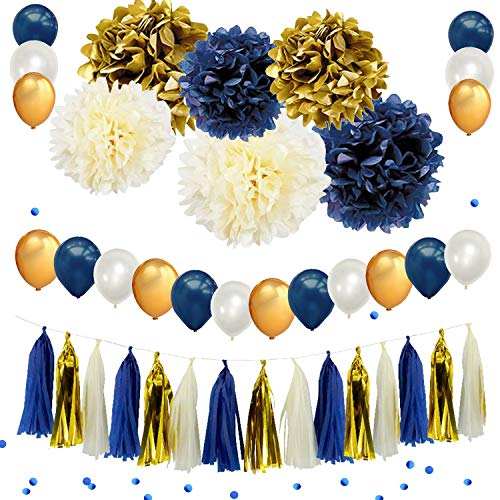(34PCS Navy Blue Gold Party Decoration Kit Hanging Pom Poms Paper Garland Party and Balloons 12pcs 10 inch Latex Balloon with Blue Confetti Birthday Wedding Bridal Baby Shower Party Decoration Supply)