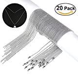 "NUOLUX 20Pack- 30"" Inch Stainless Steel Ball Chain, 2.4mm Ball Beads (Silver)"