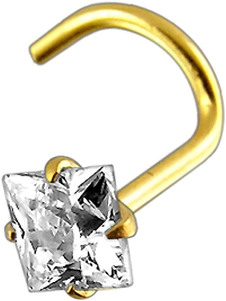 14K Yellow Gold Prong Set Square CZ Stone 20 Gauge Nose Screw Piercing Jewelry