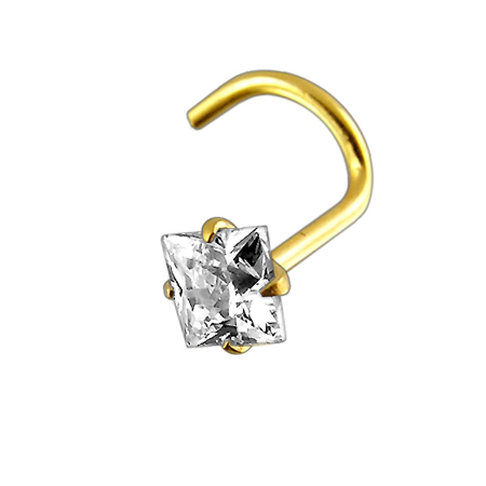 14K Yellow Gold Prong Set Square CZ Stone 20 Gauge Nose Screw Piercing Jewelry AtoZ Piercing ATOZ-MM5.1-010-SNK41