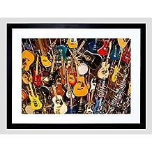 Music Photo Guitar Banjo Group Framed Art Print