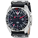 Wrist Armor de los hombres wa333C3Acero Inoxidable analógica visualización Swiss GMT Reloj de cuarzo con correa de piel negro
