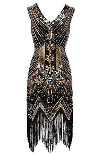[BABEYOND Women's Flapper Dresses 1920s V Neck Beaded Fringed Great Gatsby Dress (X-Large, Gold)] (Gold Flapper Dress)
