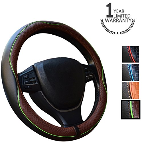 - Gomass Steering Wheel Covers, Microfiber Leather, Business Style, Anti Slip & Odor Free, Excellent Grip, Nontoxic, Comfort & Durability, Fit for Universal Size 15 inch(Black & Dark Coffee)