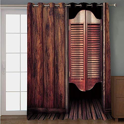 Blackout Patio Door Curtain,Western,Old Vintage Rustic Wild West Theme Swinging Cowboy Bar Saloon Door Picture,Brown and Peru,for Sliding & Patio Doors, 102