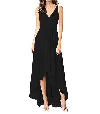 cee52010b5 Elleybuy Women s V Neck A-Line Ruched Chiffon High Low Bridesmaid Dresses  2019 US2