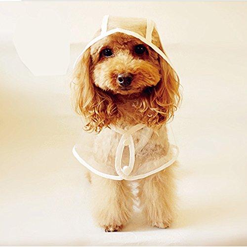 LUCKSTAR Pet Raincoat - Waterproof Dog Puppy Coat Dog Poodle Pet Transparent Raincoat Rainwear Clothes Dress (L)
