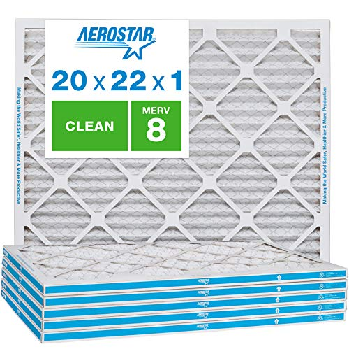 Aerostar Clean House 20x22x1 MERV 8 Pleated Air Filter, Made in the USA, 6-Pack from Aerostar