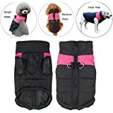 Pet Dog Coat Waterproof warm Jacket With D-Ring, Warm Padded Puffer, Chest Protector Winter Warm Harness Vest Jacket Puppy Clothes Vest ski suit For Small Medium Large Dogs (XXL, Green)
