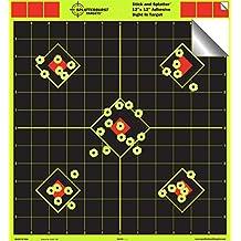 "Splatterburst Targets - 12 x 12 inch Sight In ""Stick & Splatter"" Self Adhesive Shooting Targets - Shots Burst Bright Fluorescent Yellow - Great for all firearms, AirSoft, BB & Pellet guns!"