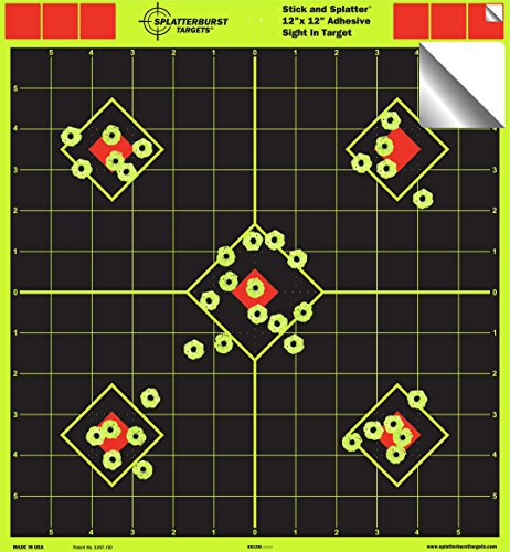"12""x12"" Sight in Adhesive SPLATTERBURST Shooting Targets - Instantly See Your Shots Burst Bright Fluorescent Yellow Upon Impact! (50 Pack)"