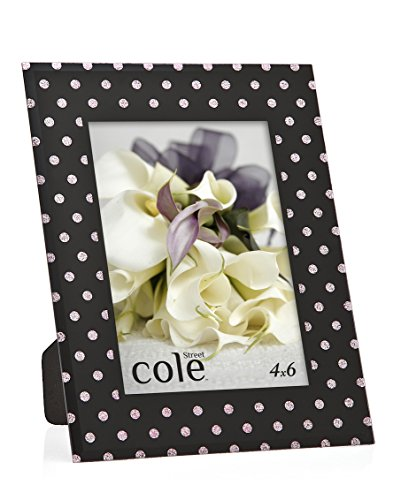 Furniture Polka Dot (Philip Whitney 5x7 Black And Pink Glitter Polka Dot Picture Photo Frame Standing Horizontal or Vertical)