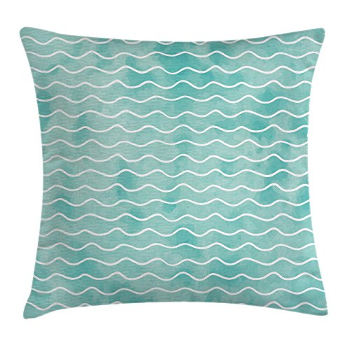Ambesonne Nautical Throw Pillow Cushion Cover, Soft Pastel Colored Ocean Sea Waves Pattern Summer Vibes Inspired Graphic, Decorative Square Accent Pillow Case, 20 X 20 Inches, Turquoise White