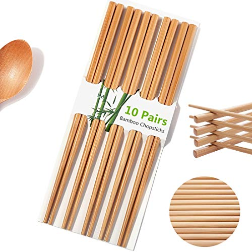"Chopsticks Reusable Chinese Natural Bamboo Chopsticks 9.4""/24cm Long Lightweight Wood Chopstick Set For Eating Cooking -10 Pairs gift Sets Dishwasher Safe Color1(Upgraded Version)"