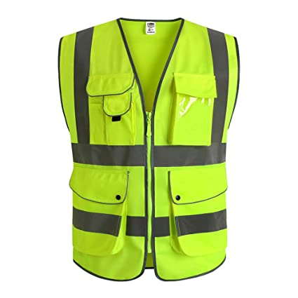 Security & Protection Supply Black Mesh Vest High Visibility Pvc Reflective Tape Zipper Front Safety Clothing