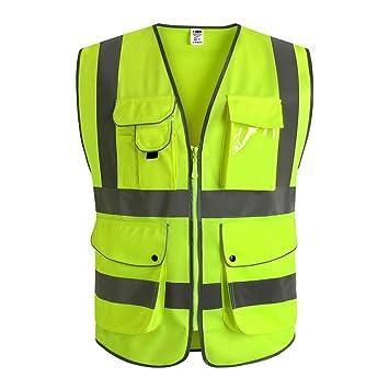 High Visibility Vest >> Jksafety 9 Pockets Class 2 High Visibility Zipper Front Safety Vest