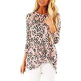 ANJUNIE Womens Twist Knot Pullover Shirt O-Neck Long Sleeves Leopard Print Tie Tops Sweatshirt(Pink,XL)